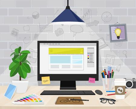 Designer workspace, objects, vector illustration