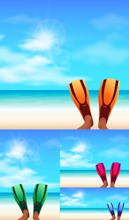 Feet in flippers on the beach, rest on the sea, background vector illustration. Stock Illustratie