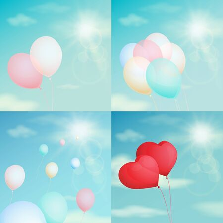 Colorful balloons in the sky, vintage filter, background vector illustration