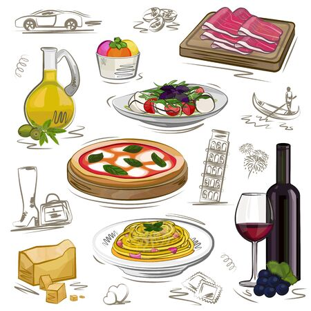 Set of food, different dishes. Italy, watercolor style, vector illustration