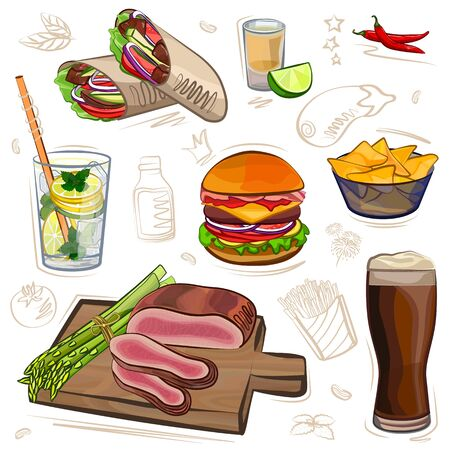 Set of different meat dishes, watercolor vector illustration Illustration