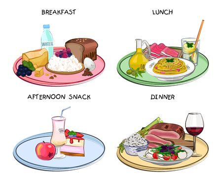 Meal times, Breakfast, lunch, dinner, afternoon snack, meal set, different dishes, vector illustration