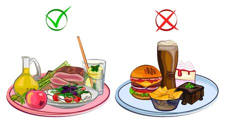 Food useful, harmful, on a tray, different dishes, vector illustration Illustration