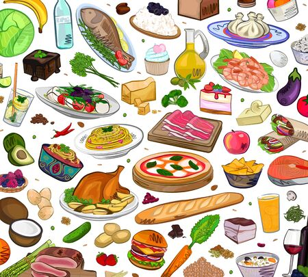 Hand drawn food on white background, vector Illustrator