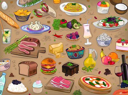 Food set, different, kitchen, restaurant, vector illustration