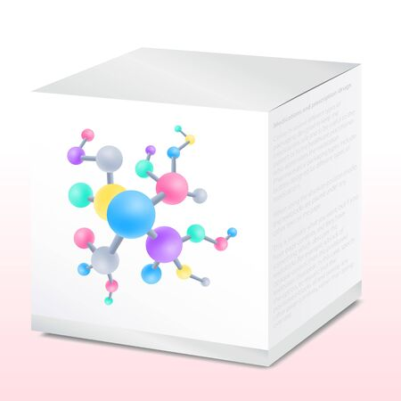 Jar with cream packaging, peptide compounds, vector illustration