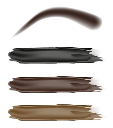 Eyebrow paint, mascara, different colors, vector illustration