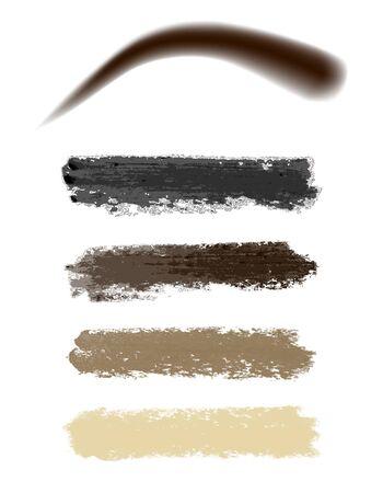 Eyebrow paint, mascara, smear, vector illustration