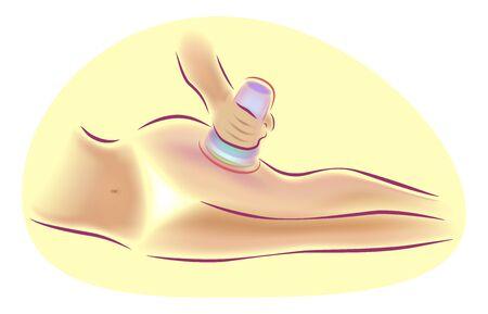 Hardware body massage, lifting, cosmetology medicine, vector illustration