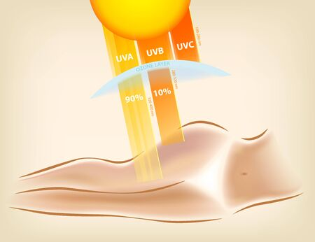 Female beach body tanning, sun protection cream, vector illustration