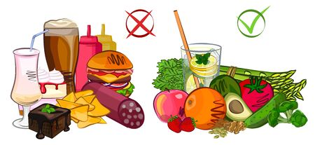 Healthy junk food, diet vector and illustration Stock Illustratie