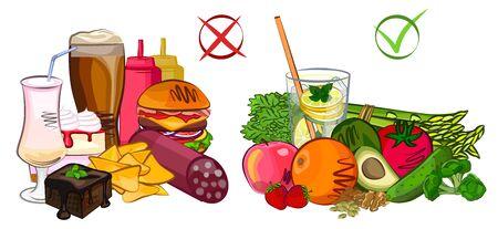 Healthy junk food, diet vector and illustration Illustration