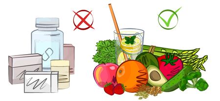 Medicine, proper nutrition, diet vector illustration Stock Illustratie
