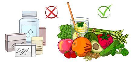Medicine, proper nutrition, diet vector illustration Illustration