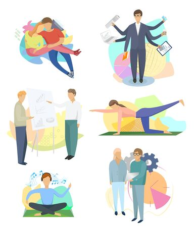 People, different situations in business, do sport, vacation with friends, vector illustration Stock Illustratie
