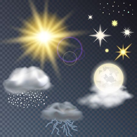 A set of rain, the sun the stars the lightning cloud, vector illustration Stock Illustratie