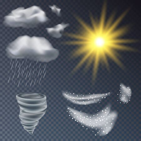 Set of different precipitation, sun tornado Blizzard lightning cloud, vector illustration