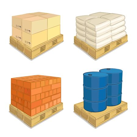 Cargo on a pallet, transportation of material, delivery, vector illustration