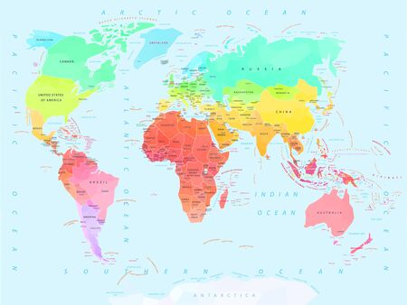 World map with names of countries and capitals, oceans and seas, geometric style, climate political map, vector illustration
