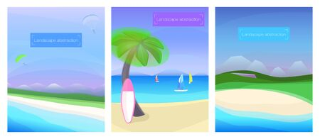 Summer sea landscape, sea, mountain, beach, holiday vacation travel background vector illustration Stock Illustratie