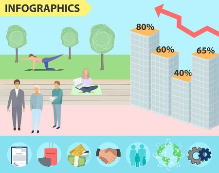 Real estate sales infographics, price chart, business vector illustration