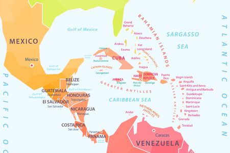 Countries of the Caribbean Islands, part of the map, vector illustration Stock Illustratie