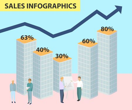 Infographics of sales price growth, graph profit, negotiations of people business, vector illustration