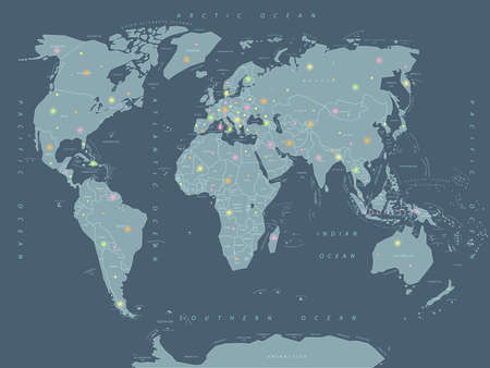 World map geolocation, bright points, arrival, vector illustration