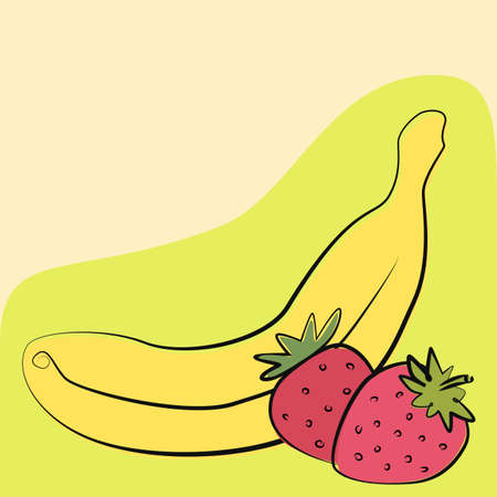 Strawberry with banana, drawing vector illustration