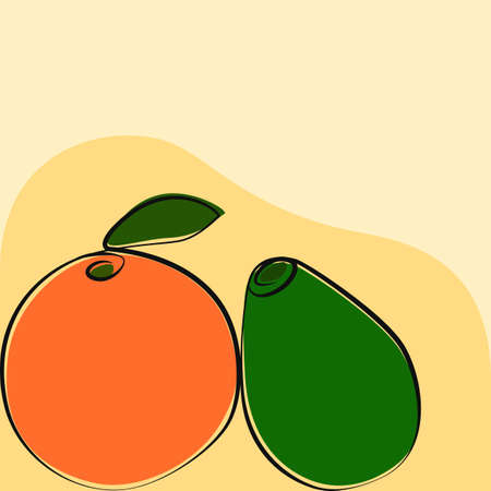 Orange with avocado, drawing illustration vector Stock Illustratie