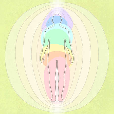 Stylization of human energy, seven chakras, body, vector illustration