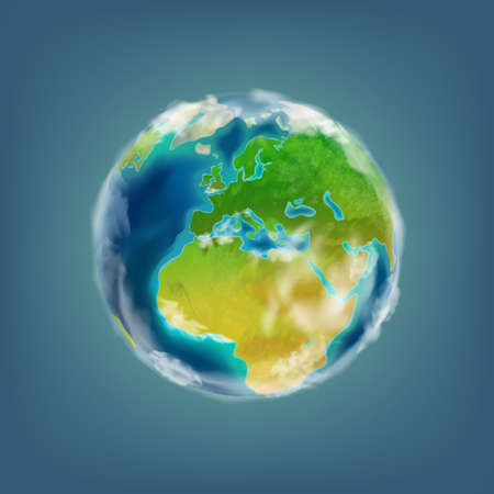 Planet Earth, 3d volume icon, vector illustrationvolume icon, vector illustration