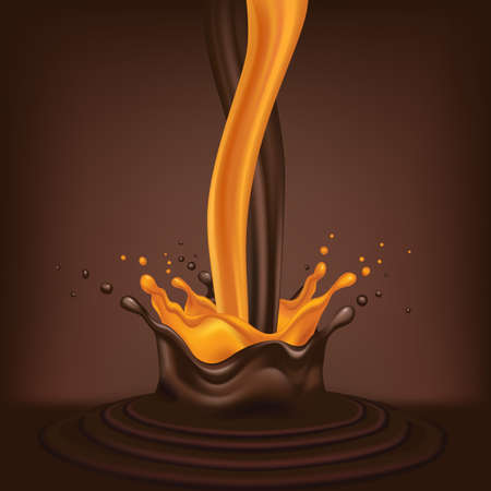 Chocolate with juice, a stream of chocolate pours, 3d vector illustration