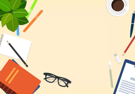 Light desktop with objects, vector illustration