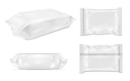 Paquet blanc de casse-croûte de nourriture de feuille blanche pour des morceaux, des bonbons et d'autres produits. Emballage de lingettes humides.