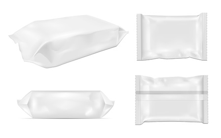 White blank foil food snack pack for chips, candy and other products. Wet wipes packaging. Vectores