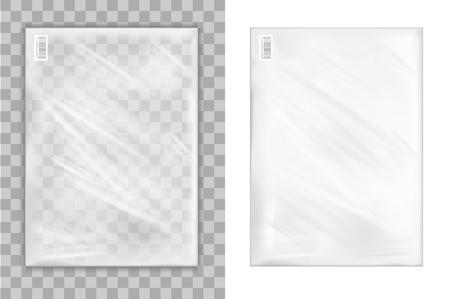 Transparent plastic shopping bag. Stock Vector - 85571593