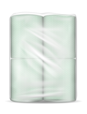Transparent empty plastic packaging with green paper towels.