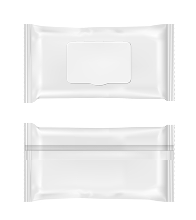 pouch: White wet wipes package with flap.