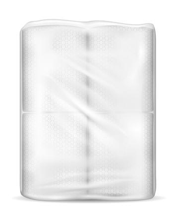 화장실 종이와 투명 빈 플라스틱 포장입니다.