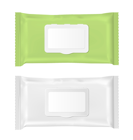 pouch: Green and white wet wipes package with flap.