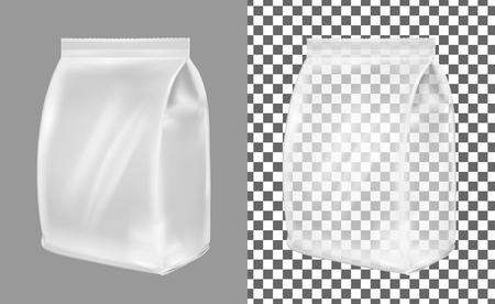 Transparente Kunststoff- oder Papierwaschpulververpackungen. Beutel für Brot, Kaffee, Süßigkeiten, Kekse und Geschenk.