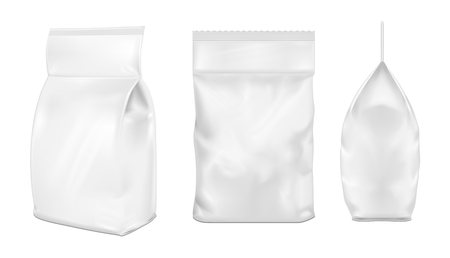 pouch: White blank plastic or paper washing powder packaging. Sachet for bread, coffee, sweets, cookies and gift.