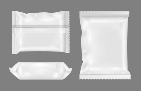White blank foil food snack pack for chips, candy and other products.