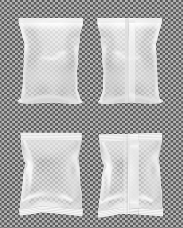 Transparent packaging for snacks, food, chips, sugar and spices. Pouch for cosmetics. Illustration