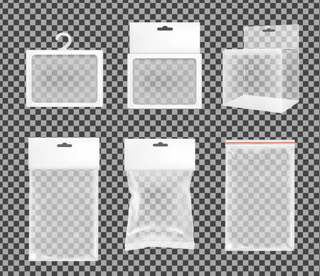 Realistische transparante papieren of plastic verpakkingsdoos met hangend gat.