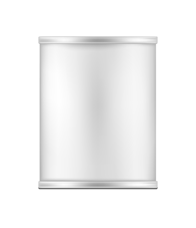 White blank metal tincan for soup, fish, beans and other products.