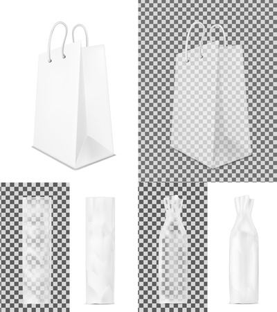 pouch: Transparent shopping paper bag. Packaging for bottle and bread. Illustration