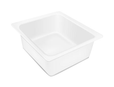 チーズのための白い空のプラスチック容器。肉、魚、野菜の包装。