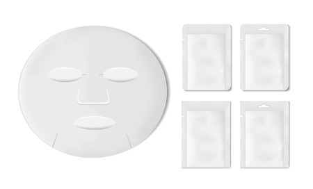 White empty plastic packaging with sheet mask. Blank foil or plastic sachet for food or medicines.